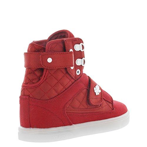 Vlado Footwear Womens Atlas Metallic Pu Leather Oro / Bianco Top Sneaker Rosso