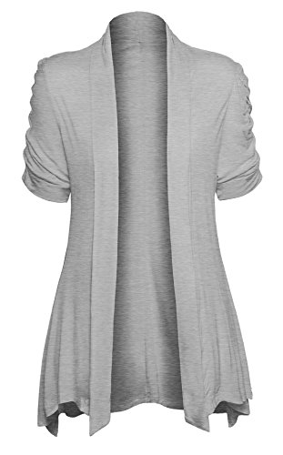 Womens Open Front Ruched Short Sleeve Shark Bite Hem Casual Plus Size Cardigan, Heather Gray, X - Large by HOT FROM HOLLYWOOD