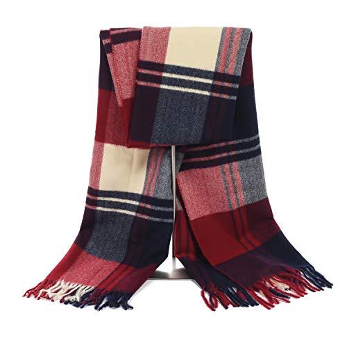LERDU Ladies Gift Idea Cashmere Tartan Pashmina Scarf Fashion Wine Red Tartan Warm Wool Wrap Shawl Winter Stole for Women