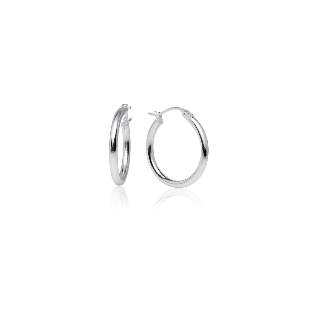 LOVVE Sterling Silver High Polished Round-Tube Click-Top Hoop Earrings, All Sizes 2x20mm