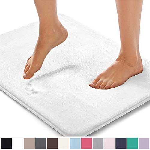 Gorilla Grip Original Thick Memory Foam Bath Rug, 30x20, Cushioned, Soft Floor Mats, Absorbent Children's Bathroom Mat Rugs, Machine Washable, Luxury Plush Comfortable Carpet for Bath Room, White