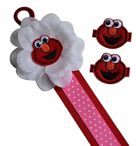Elmo Hair Bow and Hair Clip Holder for Toddlers Girls Featuring Embroidered Appliqué - You Pick Gift Bundle! (BOW HOLDER WITH CLIP SET)]()
