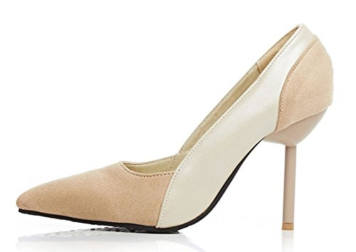 Aisun Womens Stylish Splicing Pointy Toe Low Cut Dress Slip On Pumps Party Bridal Stiletto High Heels Shoes Beige lZpiB