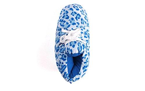 Komfortable Føtter Snooki Blå Leopard Tøfler (xl)