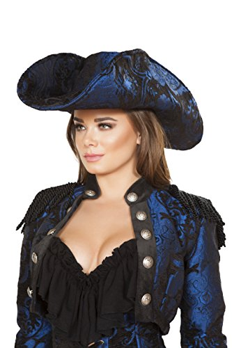 Sexy Women's Captain of The Night Pirate Hat Blue Costume Accessory