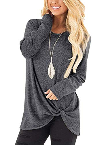 Yidarton Women's Comfy Casual Long Sleeve Side Twist Knotted Tops Blouse Tunic T Shirts(DGA,XXL) Dark Grey