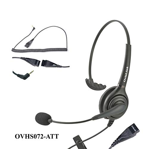 OvisLink Corded AT&T Phone Headset   2.5mm Headset with microphonen for Call Center   Noise Canceling Microphone   Rotatable Microphone Boom   Over-The-Head Style   Quick Disconnect Included
