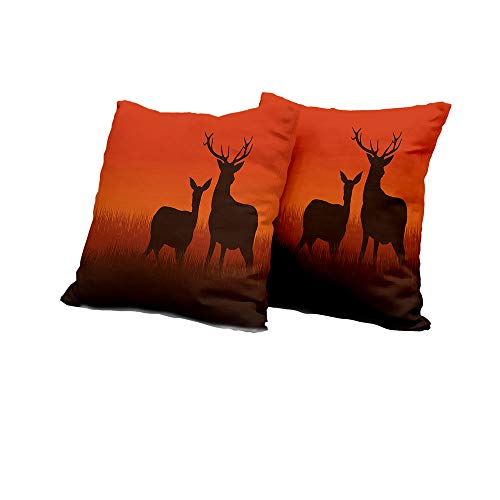 Chaise Lounge Cushion Cover Hunting Decor,Silhouette Illustration of a Deer and Doe on Meadow Autumn Season Skyline,Multicolor Square Euro Sham Cushion Cover 24x24 INCH 2pcs ()