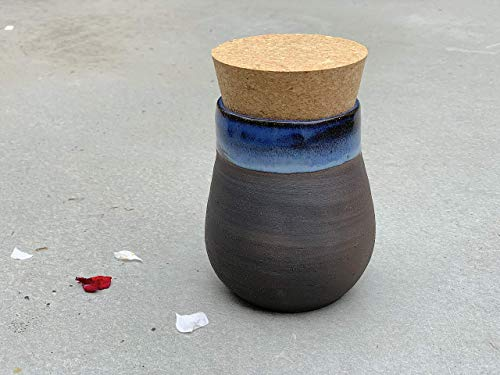 (Blue and Black Clay Lidded Jar, handmade pottery kitchen or bathroom container)