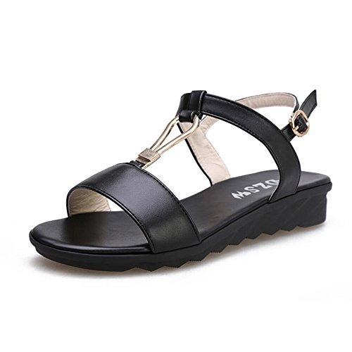 Las mujeres s sandalias de verano T - tipo de amarre - tie non - Zapatos de patinaje Negro