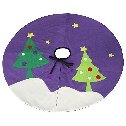 [Happy Time] Purple Xmas Tree Skirt Patchwork Tree Skirt Home Decor