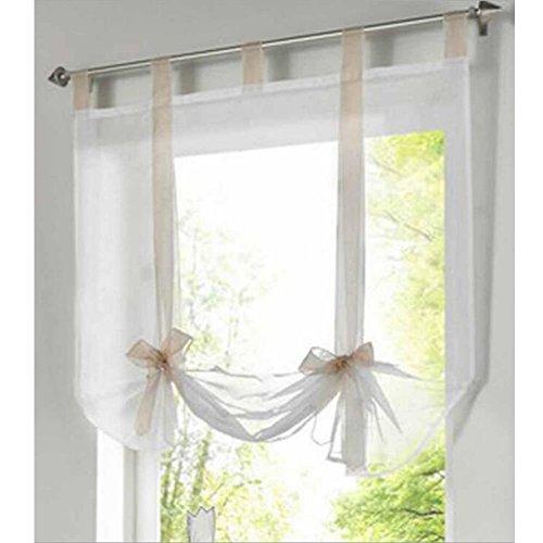 (ANITYSO 1 Pcs Liftable Roman Shades Voile Sheer Window Screen Balloon Curtain Vertical Panel Drape Blinds (39