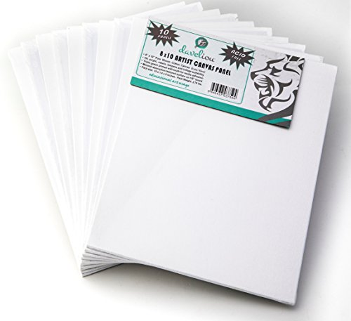 Daveliou Canvas Panels 8 x 10 inch - Art Pack of 10 Artist Canvas Panel Boards - Triple Primed Super Value for ()
