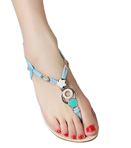 YOUJIA Mujer Plano Thong Sandals Sandalias Bohemia Adorno de Rhinestone Búho Zapatos de Playa #1 Azul