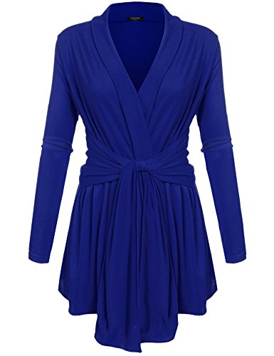 Zeagoo Women's Solid Drape Open Front Soft Boyfriend Cardigan Sweaters Blue (Belted Wrap Sweater)