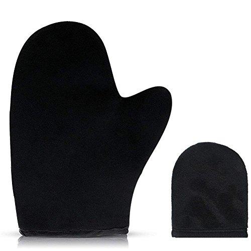 LEALSS Self Tanning Mitt Padded Microfiber Applicator Glove for Self Tanning Spray Tan 2pcs (Black)