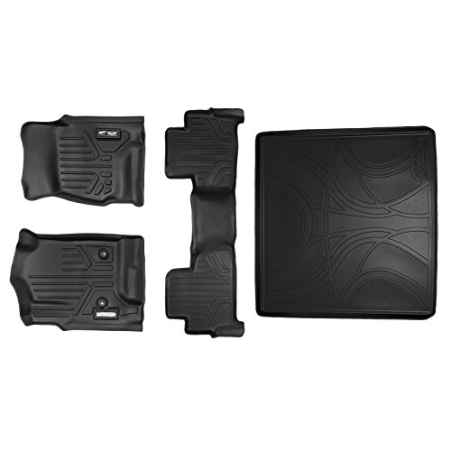 - SMARTLINER Floor Mats 2 Rows and Cargo Liner Behind 2nd Row Set Black for 2015-2018 Chevy Tahoe / GMC Yukon