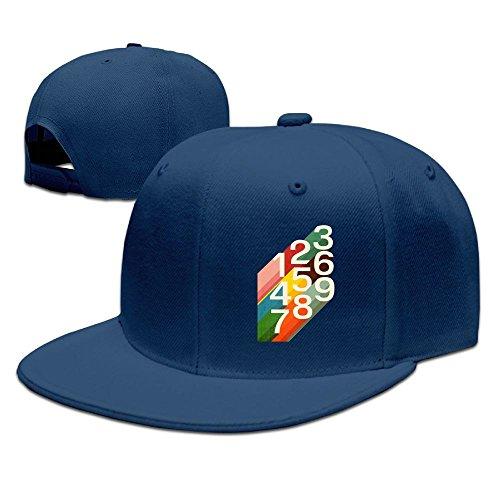 Bhfadso Retro Numbers Adjustable Hat Flat Along Baseball Flat Cap Black for Unisex