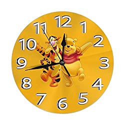 KOAJNF Home Clock,Bear Tigger Retro Arabic Numerals Style, Silent Non -Ticking Wall Clock, Large Wall Art Decorative