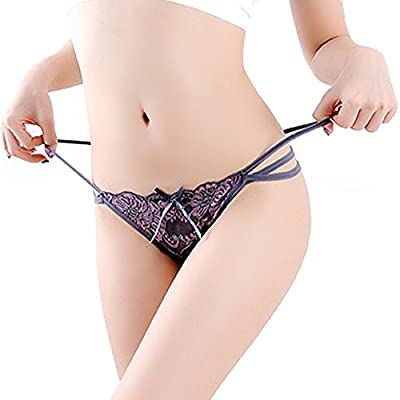 G.romtic Strappy Bikini Thong Lace Mesh G-String Panties Briefs for Women One Size