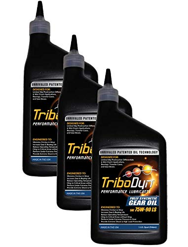 (TriboDyn 75w90 Synthetic Limited Slip Gear Oil 3 US Quart Value Pack (Save 5%) - Premium Full Synthetic Oil + Patented Additives - Lower Gearbox Temperatures - Incredible Cling Rate)