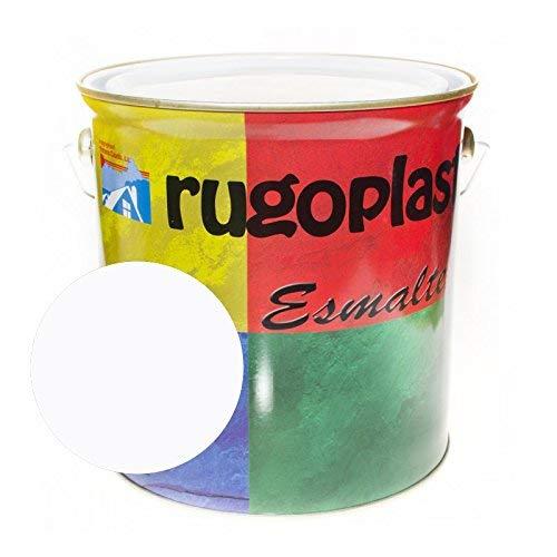 Rugoplast - Pintura esmalte sintético de alta calidad ideal para pintar hierros, rejas, portones, puertas, ventanas, madera, Blanco Brillo, 0.375 ml