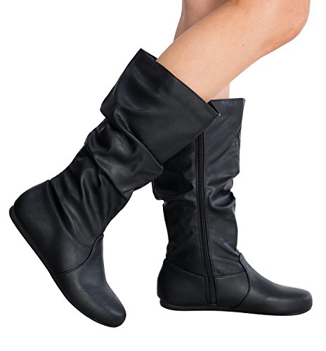 Women's Round Toe Slouchy Boot with Buckle (7, Premium New Black Pu)
