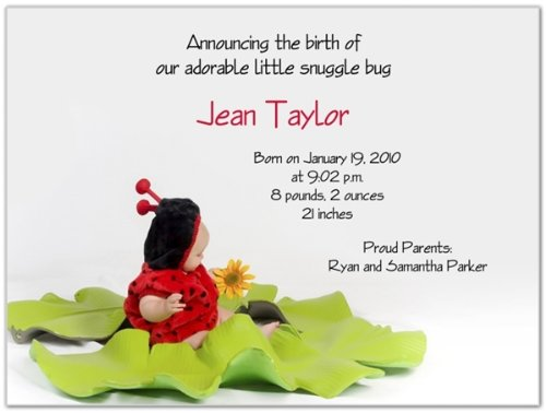 Ladybug Birth Announcements - Little Ladybug Birth Announcements - Set of 20