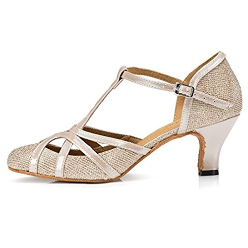 TDA Womens Mid Heel PU Leather Salsa Tango Ballroom Latin Party Dance Shoes CM101 6cm Champagne RzfJqefeOD