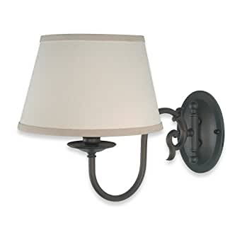 Royce Lighting RW2195ORB Williamsburg Swing Arm One-Light Wall Bracket Oil Rubbed Bronze with Beige Shade