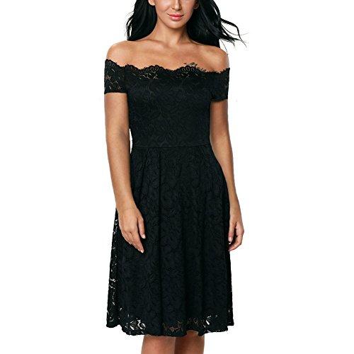 iShine Mujer Vestido Encaje Floral Elegante Mujer Manga Corta Sin Tirantes Vestidos de Coctel Fiesta para Bodas Negro