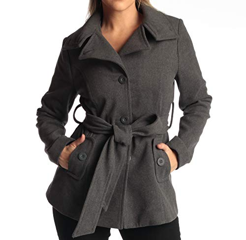 (Womens Belted Blazer Alpine Swiss Wool Blend Hot Convertible Funnel Neck Collar, Gray Large)