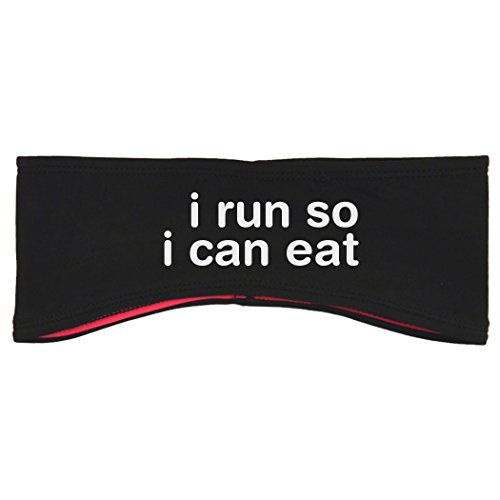Gone For a Run Running Reversible Performance Headband I Run So I Can Eat - Black Pink
