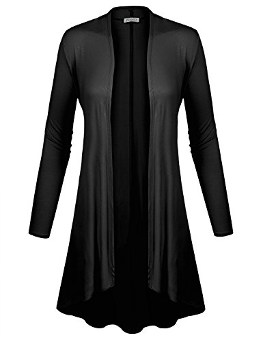 - BIADANI Women Long Sleeve Classic Lightweight Open Front Jersey Cardigan Black XX-Large