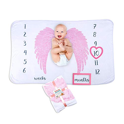 Premium Fleece Baby Milestones Blankets: for Boys Girls Angel Wings | Photography Props Two Bonus Frames Ornament | Best Baby Shower Gift New Moms | Personalized Pictures Watch Infant Growth Age Weeks