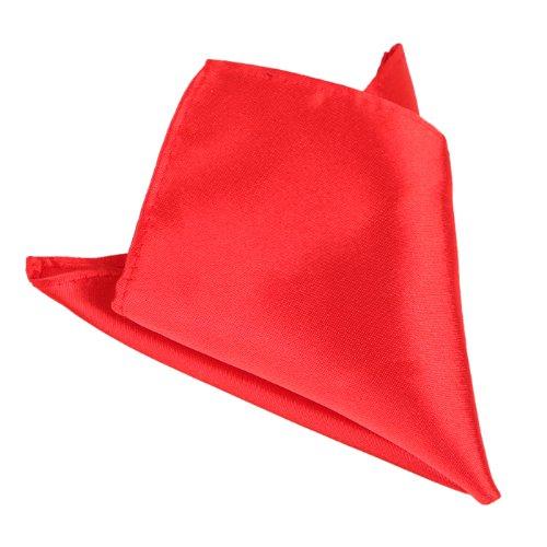 HDE Pocket Square Solid Color Men's Formal Wedding Prom Satin Blend Handkerchief (Pocket Red Handkerchief)