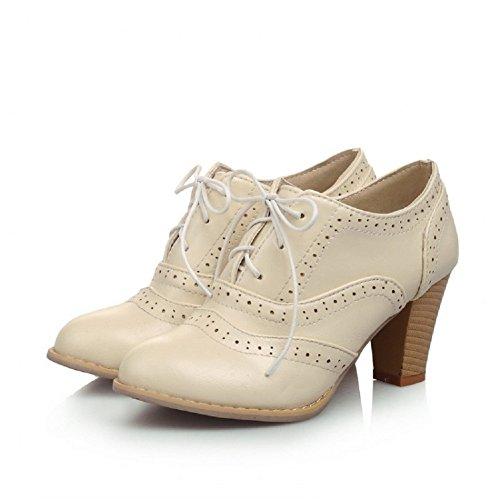 Charm Fot Vintage Kvinnor Hög Klack Snörning Oxfords Skor Beige