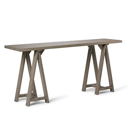 Simpli Home Sawhorse Solid Wood Wide Console Sofa Table, Distressed Grey (Living Room Wide Sofa Table)