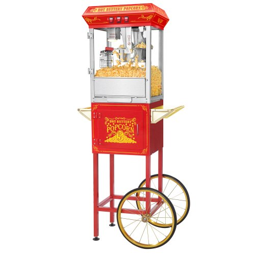 great-northern-popcorn-red-good-time-popcorn-popper-machine-cart-8-ounce
