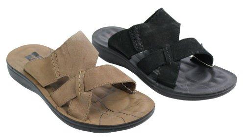 beach brown real mens sandals slippers slip summer Black black tan mules on leather SWqAT