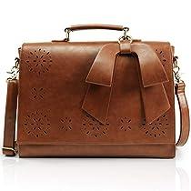 Lifewit 14 inch Women PU Leather Briefcase Vintage Laptop Shoulder Messenger Bag Hollow Crossbody Satchel Purse