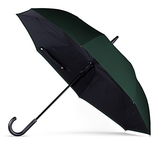 (ANYWEATHER Reversible Inverted Automatic Open Umbrella Leather J Handle, Large, Hunter)