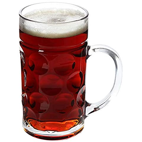 Lily's Home Heavy Duty Oktoberfest Style Dimpled Glass Beer Stein, Great for Restaurants, Beer Gardens and Parties…