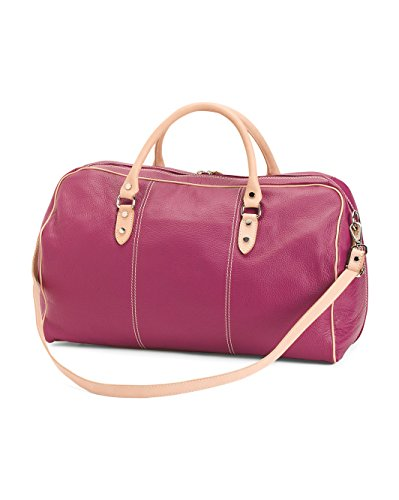 I Medici Tuscan Italian Leather 21'' Carry-on Duffel Luggage with Strap Magenta