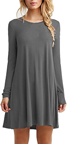 Women's Plain Cute Simple Tshirt Dress L DarkGrey