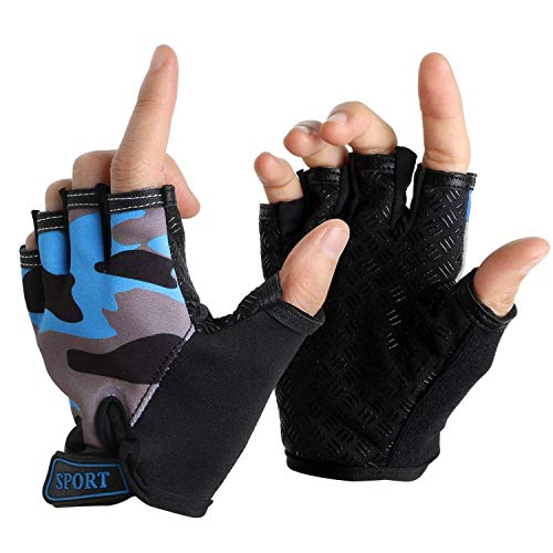 NATURE Ann Boy Girl Child Children Kid Half Finger Fingerless Short Shock-Absorbing No-Slip Pro Gloves