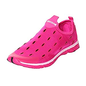 UJoowalk Womens Mens Best Comfort Quick Drying Aqua Driving Walking Ladies Mesh Beach Water Shoes (7 B(M) US, Rose Red)