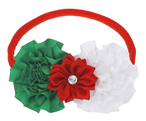 Rose Poinsettia - Flairs New York Baby Infant Christmas Holiday Flowers Elastic Headbands Hair Band (Red Poinsettia/White Rose/Green Wreath)