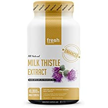 Milk Thistle Capsules - Strongest Available 10,000mg 80% Silymarin at Special Launch Price - Organic Liver Cleanse & Detox Support Supplement - Extract Powder in Capsule Pill Form - Made in The USA