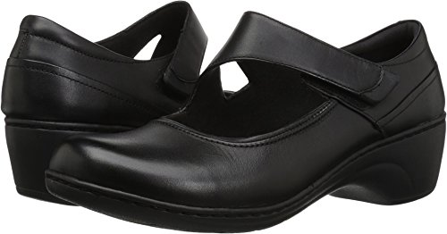 CLARKS Women's Channing Penny Mary Jane Flat, Black Leather, 120 W US